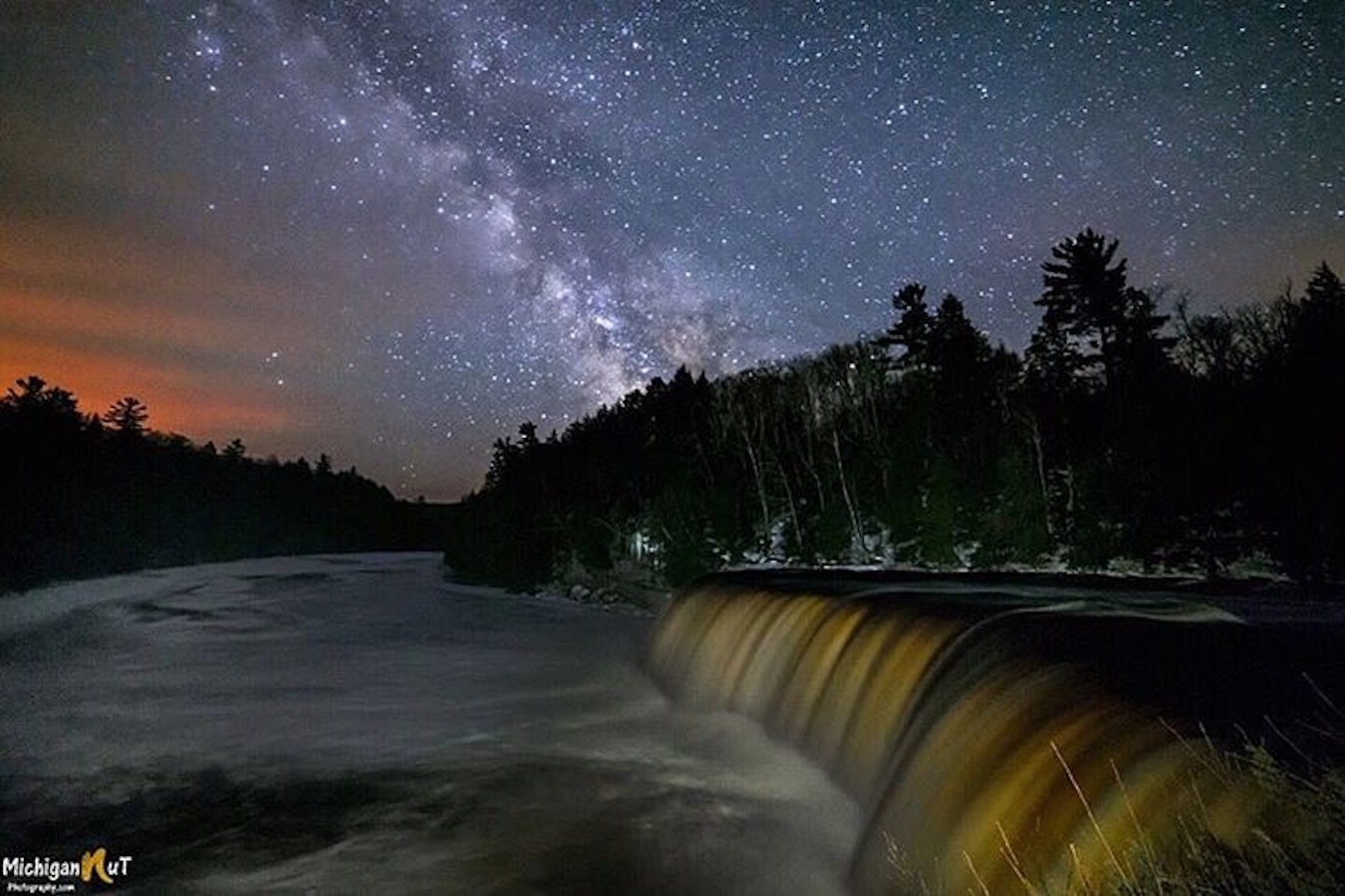 Dark skies over Tahquamenon Falls