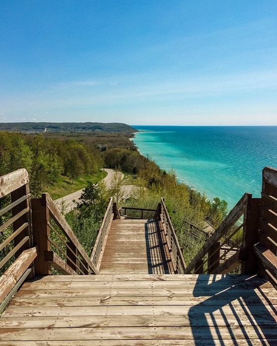 Stairs overlooking Lake Michigan in Arcadia
