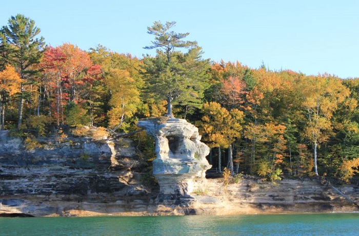 Chapel Rock formation beside Lake Superior in the fall