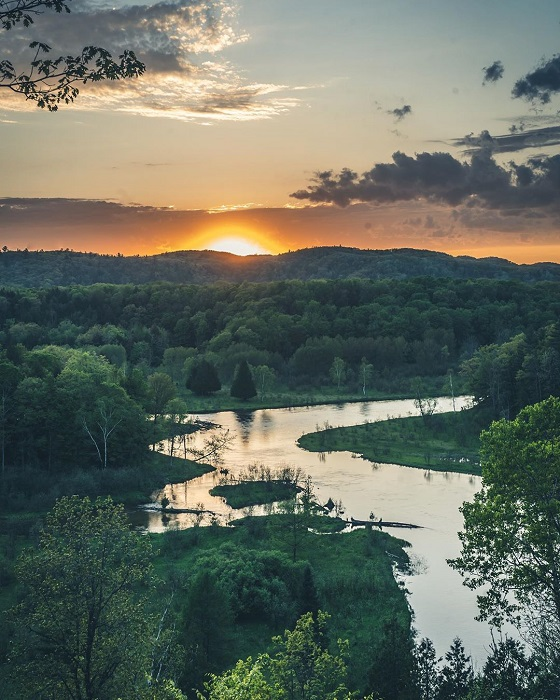 Aerial view of the Manistee River in forest at sunset