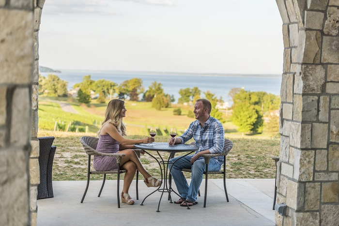 Sipping wine in Traverse City