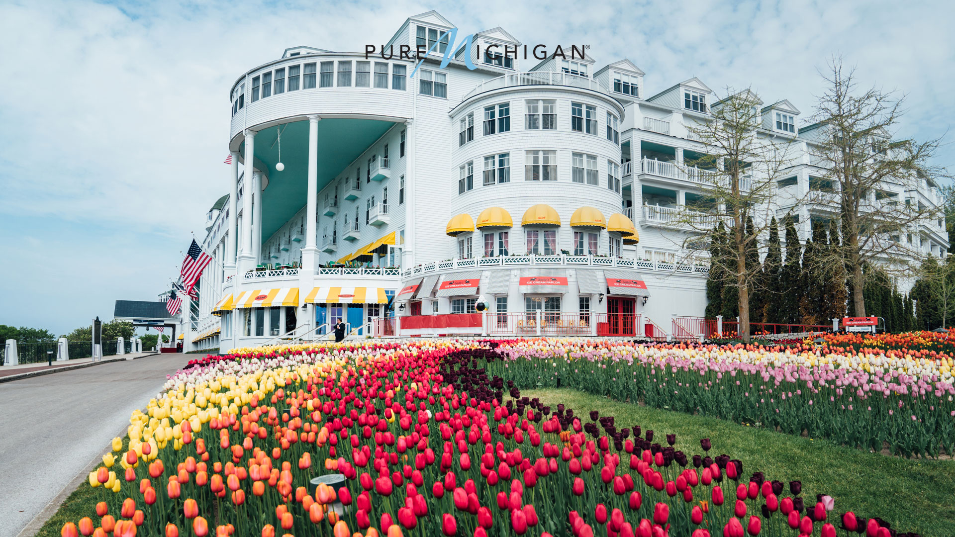 Tulips in garden outside Grand Hotel