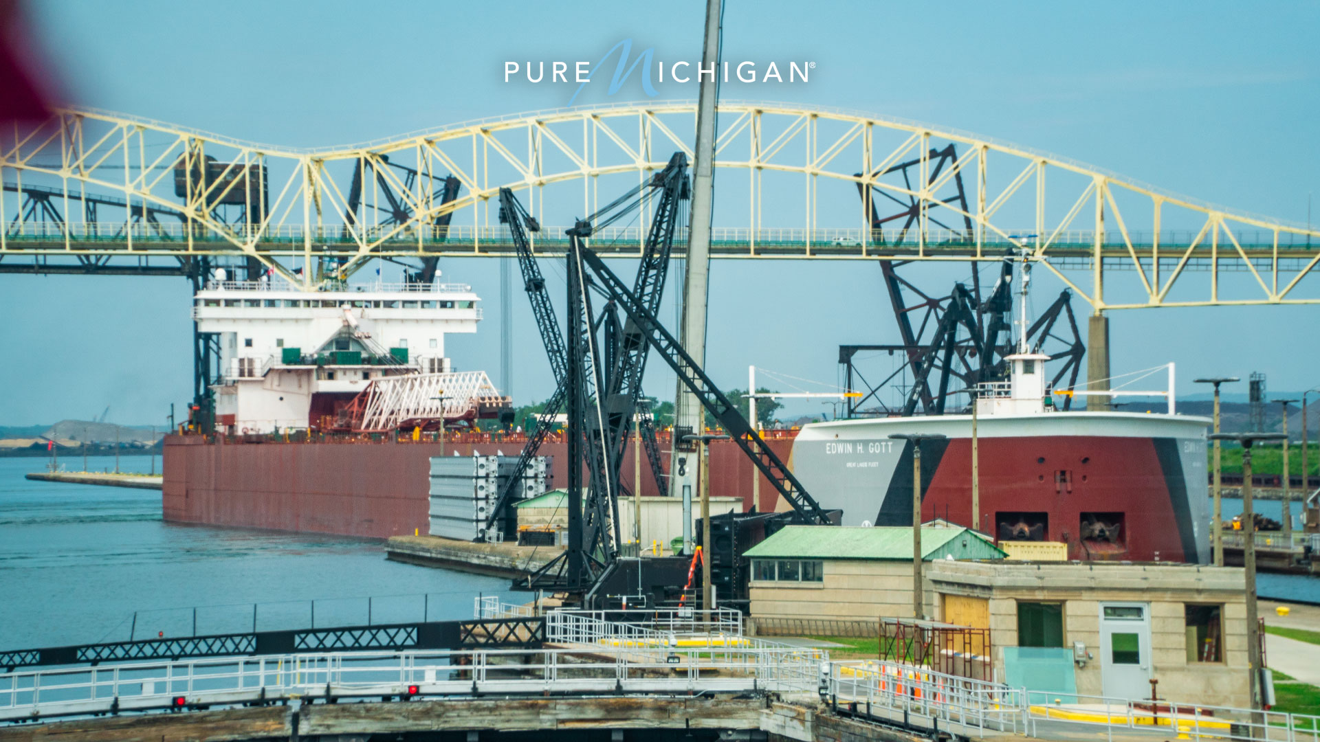 Freighter in Soo Locks